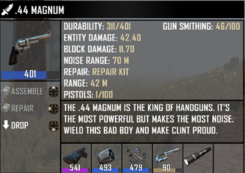 7Days to Die 薬莢スキルを取得して弾を作る方法と、銃の組み立て、修理のやり方