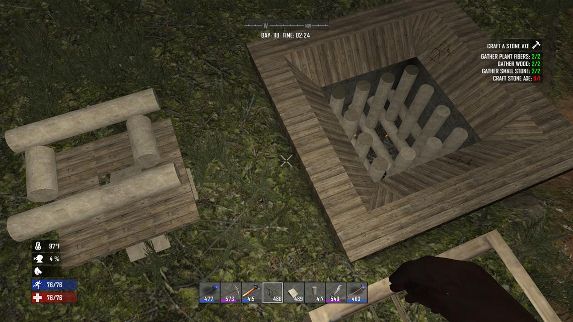 7dtd 地面をキレイに掘る方法と、簡単な拠点を作って見ました。